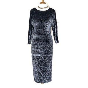 ASOS | Blue Crushed Velvet Midi Dress